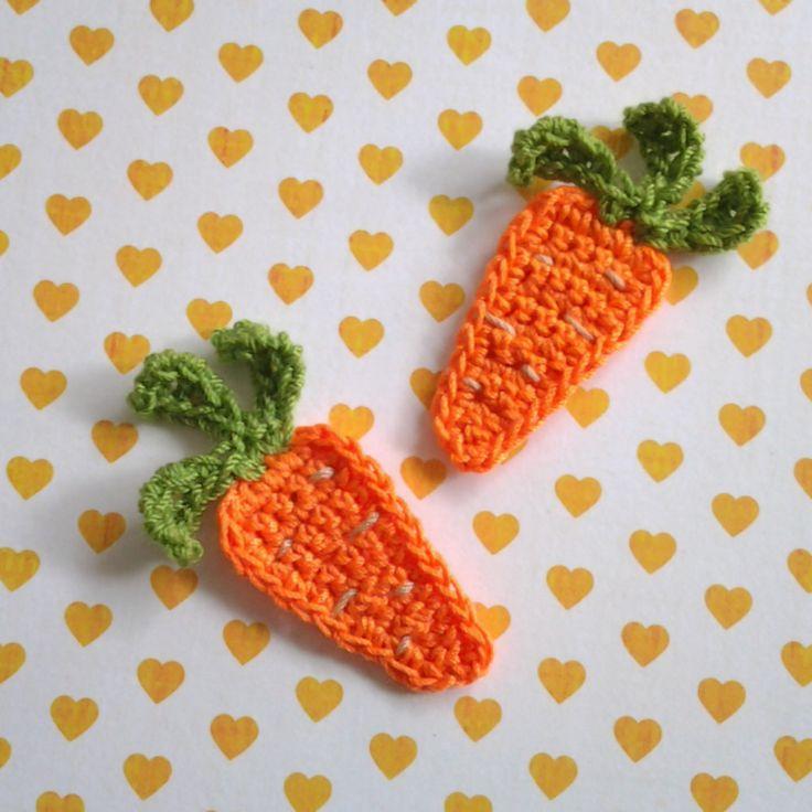 2pcs - Carrot Crochet Applique - made to order. $1.40, via Etsy.