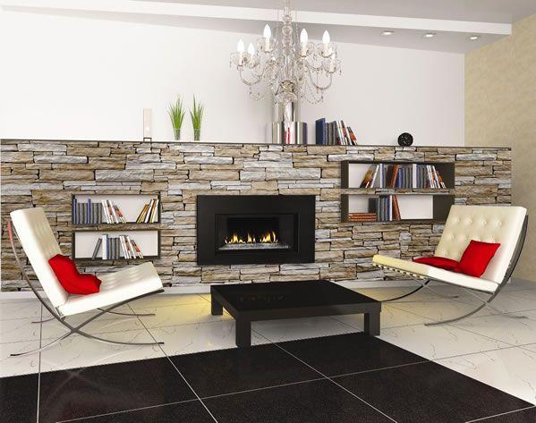 Camino a pellet con parete in pietra per un ambiente moderno e sofisticato