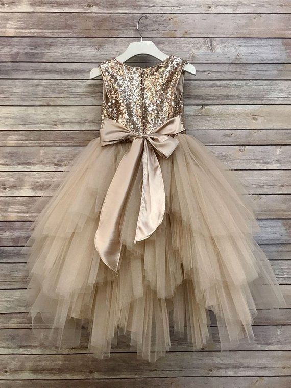 397ac2f4c2949 Flower Girl Dress,Champagne sequin Dress,FREE SHIPPING, Champagne ...