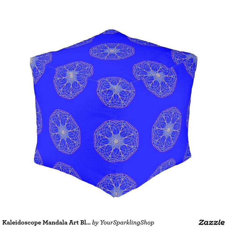 Kaleidoscope Mandala Art Blue Pouf Cube Pouf