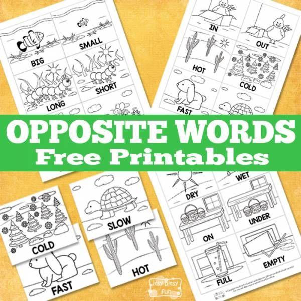 Opposite Word Printables for Pre-K and Kindergarten