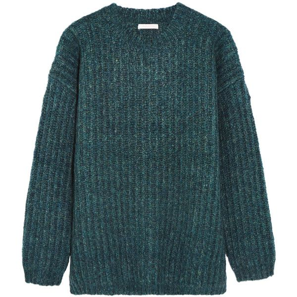 See by Chloé Oversized knitted sweater found on Polyvore featuring tops, sweaters, jade, see by chloe sweater, see by chloe top, oversized tops, oversized sweaters and blue top