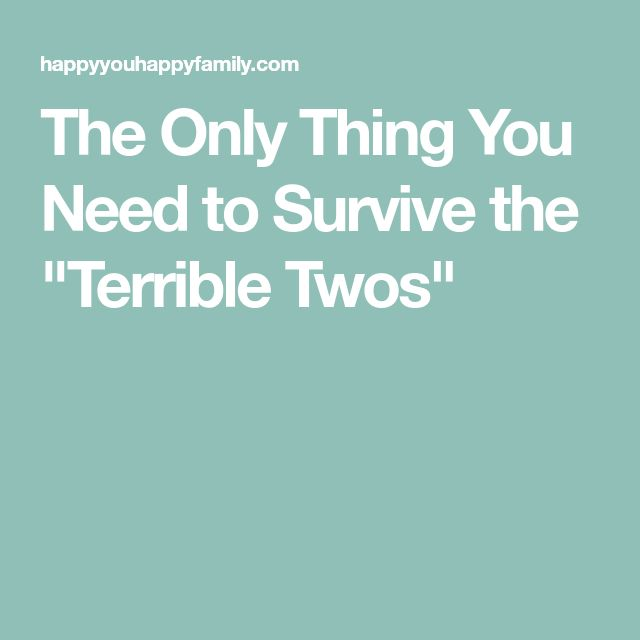 """The Only Thing You Need to Survive the """"Terrible Twos"""""""