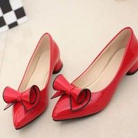 Wish | Glossy Patent Leather Women Pointed Toe Sexy Women Shoes Pump Women Spring and Autumn Buckle Flats Ladies Shoes Shoes(Color:White,Black,Red) Plus Size 35-42 5-11