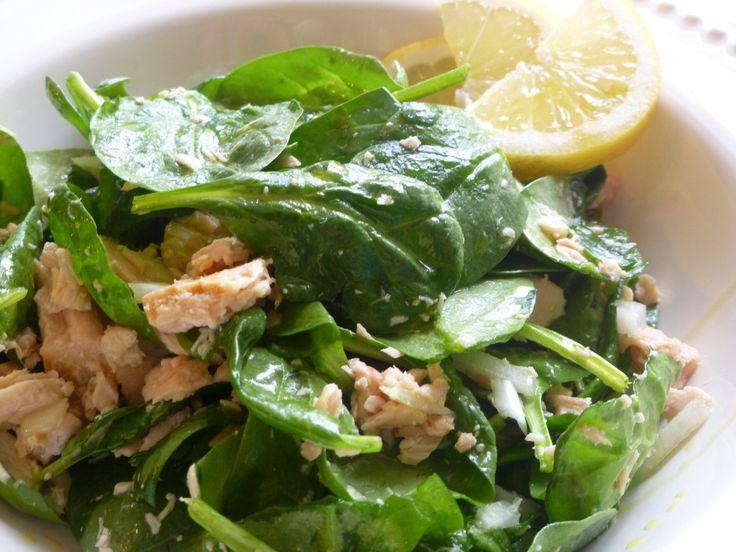 SCD Tuna & Spinach Salad w/ Lemon & Olive Oil (*Use fresh pressed garlic...)