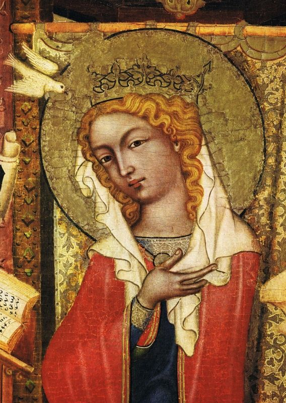 Zvěstování Panny Marie (před rokem 1350), detail, Panna Marie