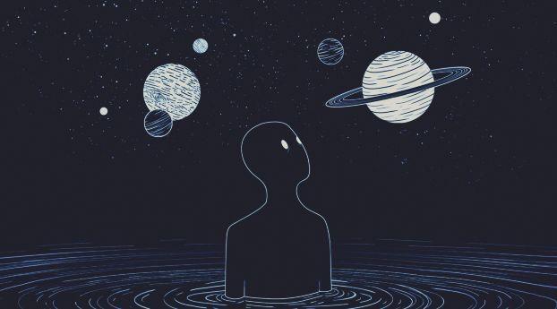 A Fool Moon Night Space Traveler Art Wallpaper Hd Artist 4k
