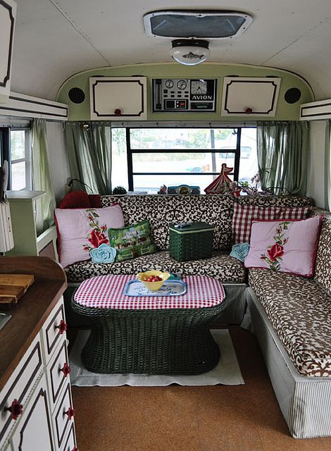 avion camper love the coffee table rather than dinette height to make the space look roomier - Camper Design Ideas