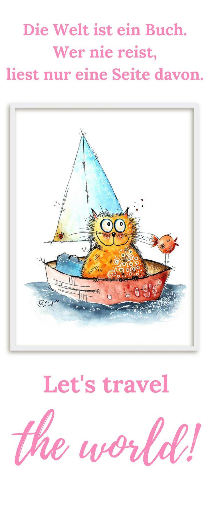 """Katze auf Reisen #kunst #wanddekoration #Katze #Kinderzimmer #Poster Das Poster mit der Illustration """"Auf Reisen"""" von Clarissa Hagenmeyer im Bilderrahmen ist ein echter Hingucker im Kinderzimmer. Die kleine Katze mit ihrem Koffer im Segelboot macht sich auf in ein großes Abenteuer! Diese Wanddekoration und viele weitere Motive von Clarissa Hagenmeyer findest du im Shop von wall-art.de"""