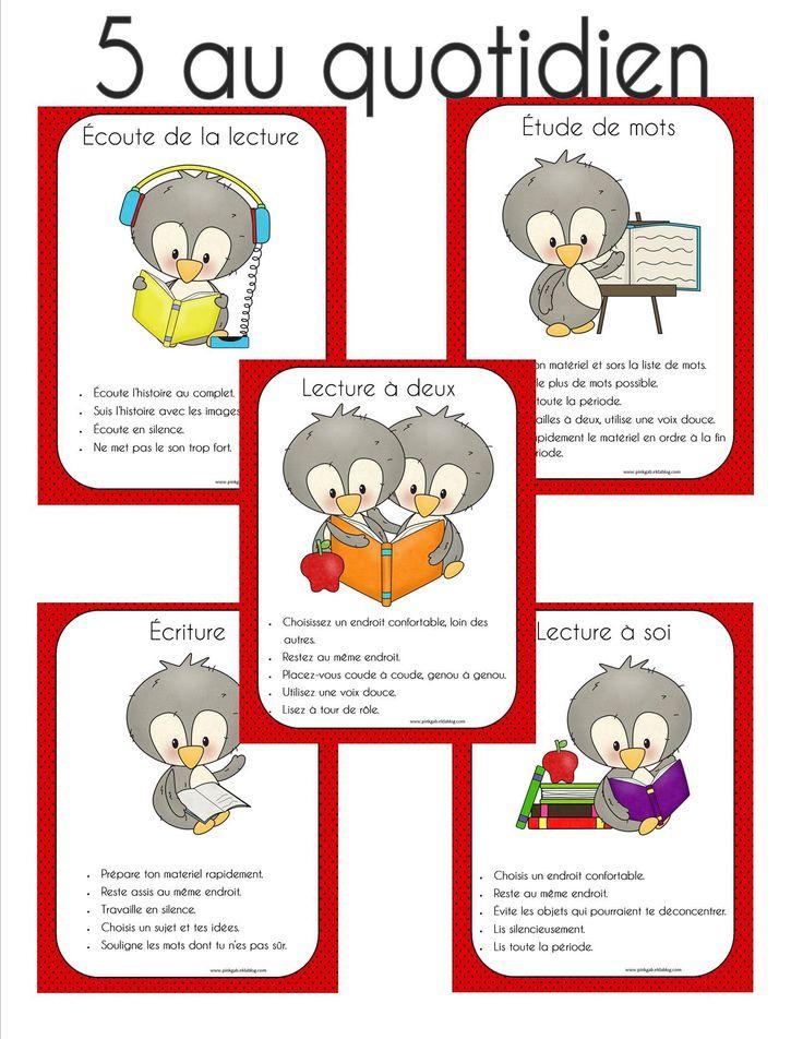 Affiches pour les 5 au quotidien. Ces affiches présentent les consignes à respecter en classe.