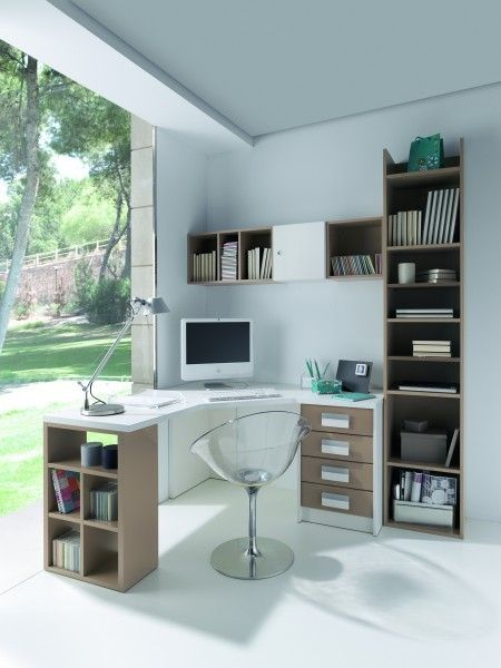 I like the corner desk layout with shelves on one side and drawers on the other side