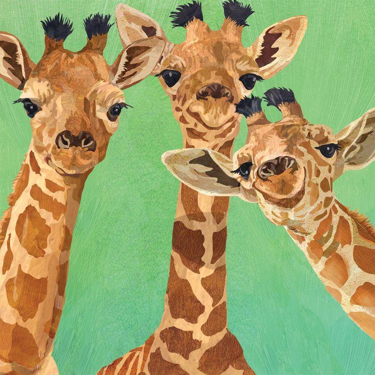 Giraffe Amigos Napkin 33x33 cm  #ppd #paperproductsdesign #giraffe #animals #tiere #tropical #tropisch #trend #design #designer #twocanart #napkin #serviette