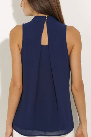 Navy High Neck Open Back Pleated Chiffon Vest from mobile - US$9.95 -YOINS