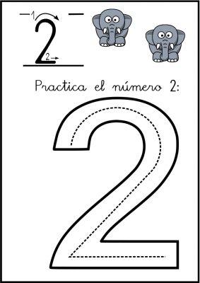 Lectoescritura de números: el 2 .