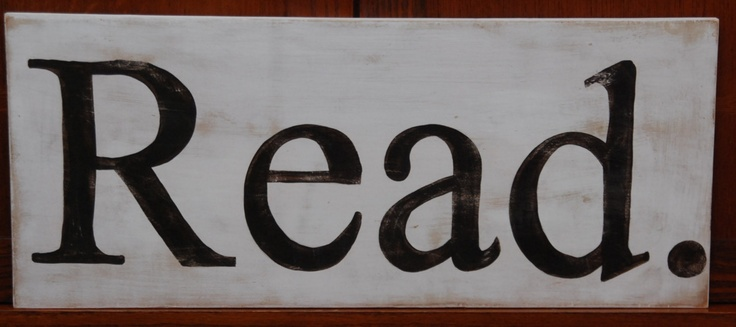 Typography style Read hand-painted wooden sign 24 x 10. $26.00, via Etsy.