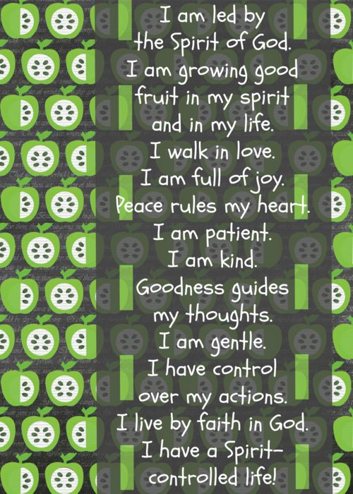 Teaching children to speak scripture over their lives -Free printable - Fruit of the Spirit Scripture Confession for Kids