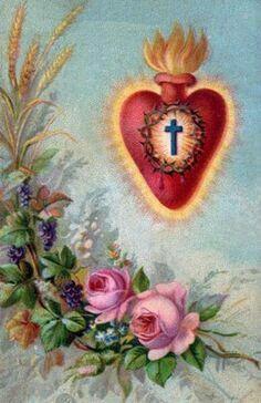 Coração de Cristo e unas  flores