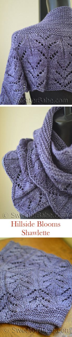 Hillside Blooms Shawlette. Gorgeous, elongated shawlette shape. Simple decreases and increases.