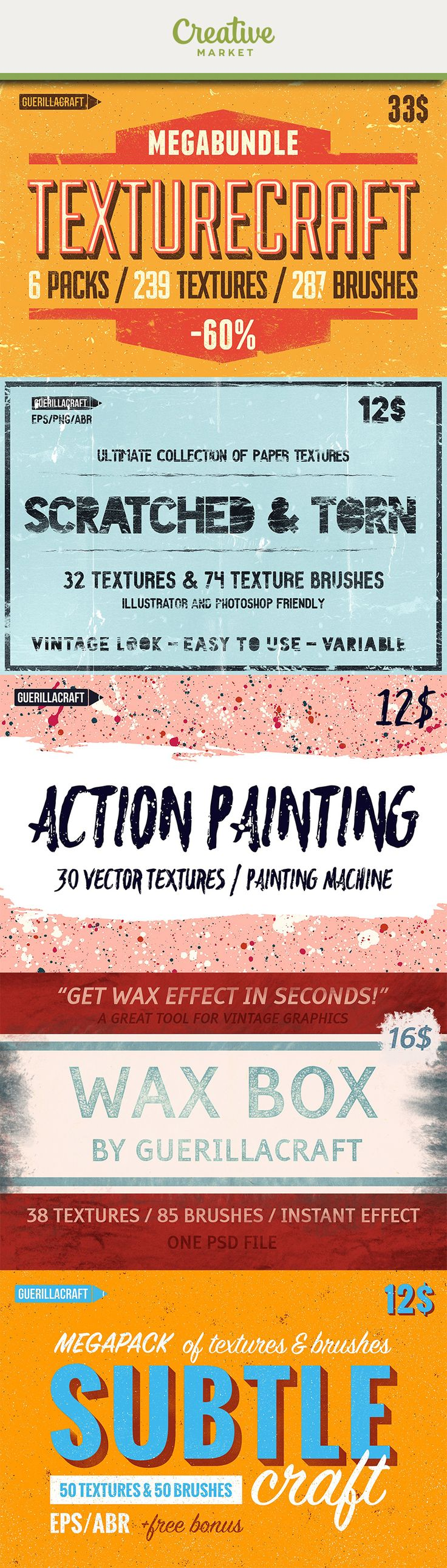 """Ad: TEXTURECRAFT is a great opportunity to update your textures library! It contains6 """"textures"""" products by Guerillacraft in value of 76$ and you can get it all only for33$NOW! 6 products / 239 textures / 287 texture brushes for Adobe Photoshop. Transparent PNG textures and EPS vector textures included. Now on Creative Market"""