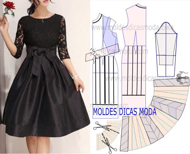 Faça a análise do desenho da transformação do molde de vestido preto com laço para poder fazer a leitura de forma correta.