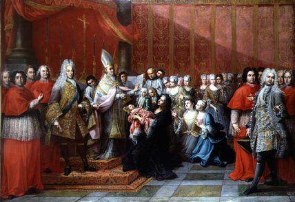 'Il Battesimo del principe Carlo Edoardo Stewart' di Pier Leone Ghezzi (1674-1755, Italy)