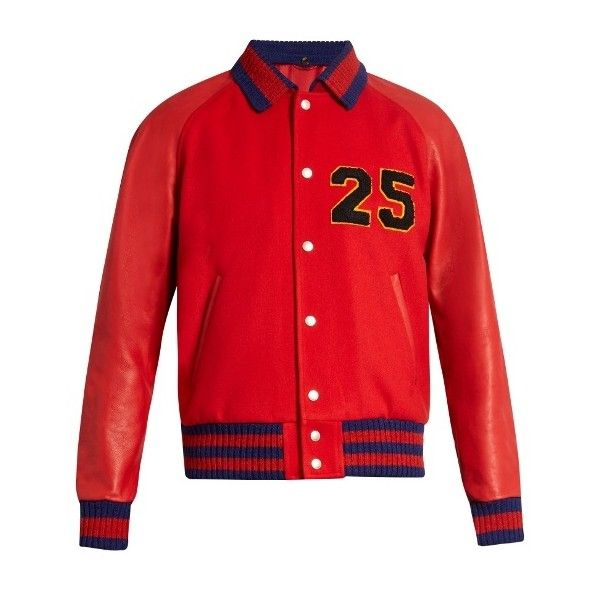 Gucci Chenille-appliqué wool and leather bomber jacket (€3.585) ❤ liked on Polyvore featuring men's fashion, men's clothing, men's outerwear, men's jackets, red, mens red jacket, mens leather jackets, mens red leather jacket, men's wool bomber jacket and mens leather bomber jacket