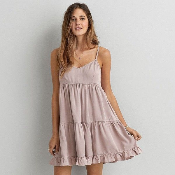 American Eagle Ruffled Babydoll Dress featuring polyvore, fashion, clothing, dresses, pink, a line dress, pink ruffle dress, v neck dress, pink baby doll dress and doll dress