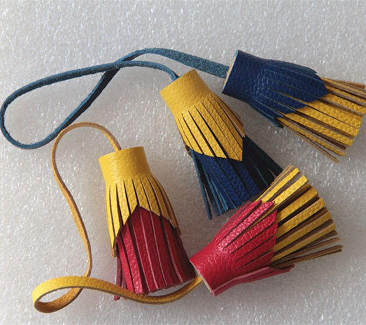 Handmade Genuine Leather Dual Tassel Pendant Bag Key Chains Bag Accessories Diy