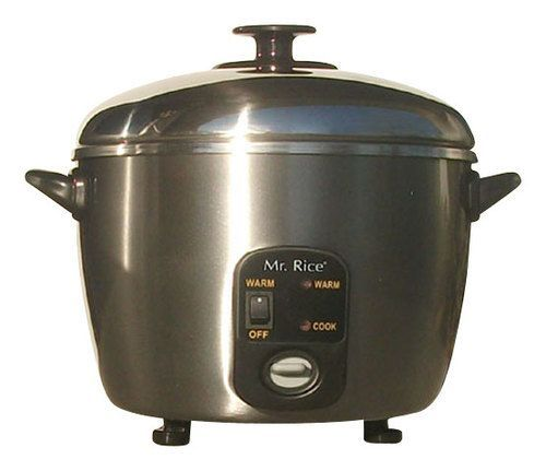 SPT - 3-Cup Rice Cooker and Steamer - Stainless-Steel