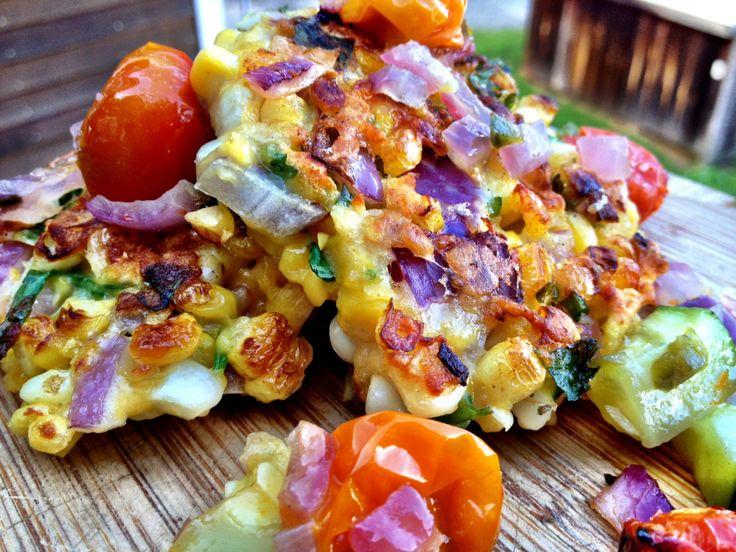 spicy cilantro corn fritters with roasted tomato zucchini salsa ...