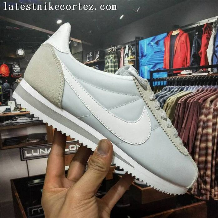 f7ac60ae388 Authentic Womens Nike Classic Cortez Nylon Running Shoes Light Blue Gray
