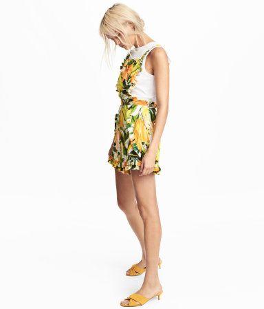 Short Jumpsuit | White/yellow patterned | Women | H&M US