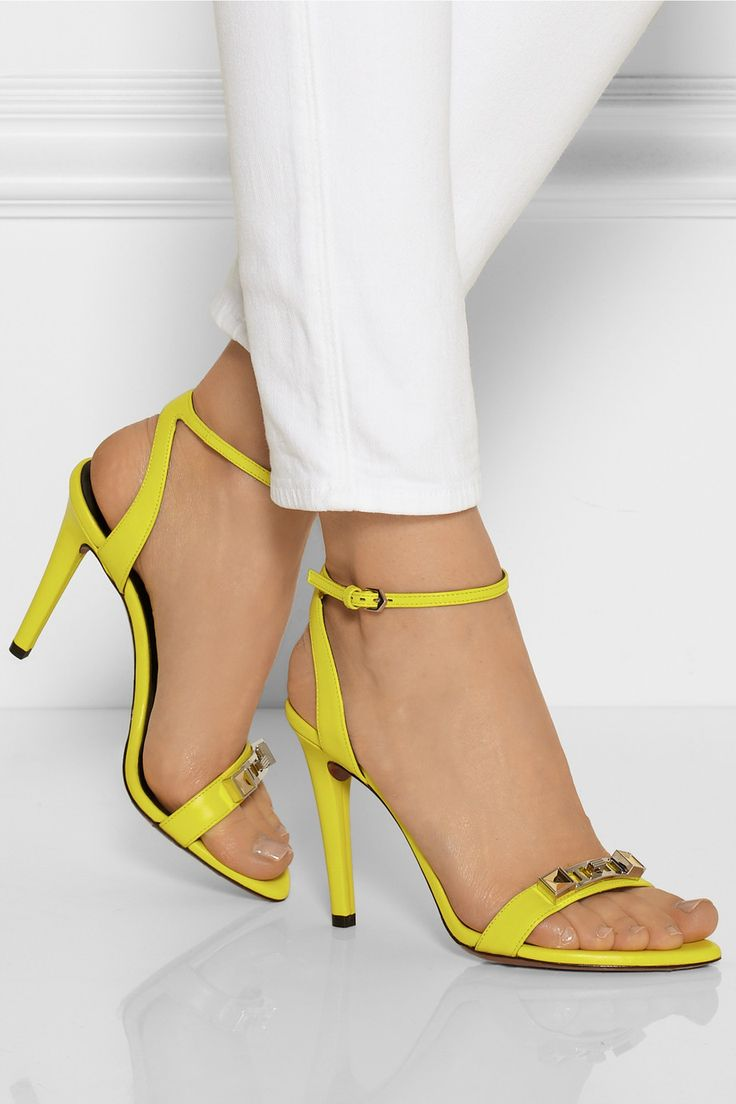 Proenza Schouler|Embellished neon leather sandals|NET-A-PORTER.COM