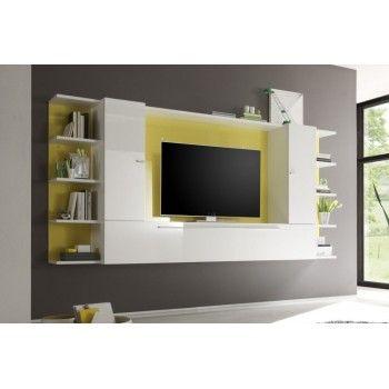 Meuble tv mural jaune et blanc laqu catagne meubles tv for Meuble mural 80