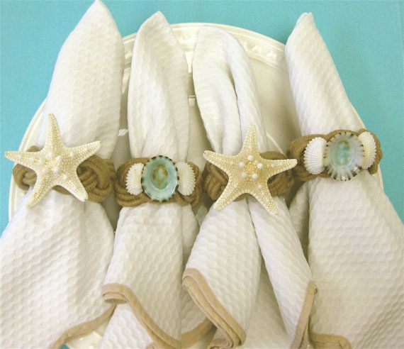 Beach Decor  Shell and Starfish Napkin Rings by SeashellCollection