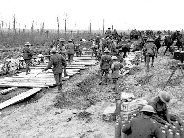 Australian pioneers build a plank road to bring up supplies, Polygon Wood area, 26 September 1917. [AWM E00800]