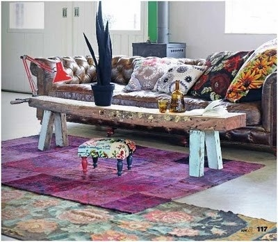 Modern Boho Chic Living Room / Chesterfield Sofa / Loads Of Cushions /  Persian Kilim Patchwork Part 93