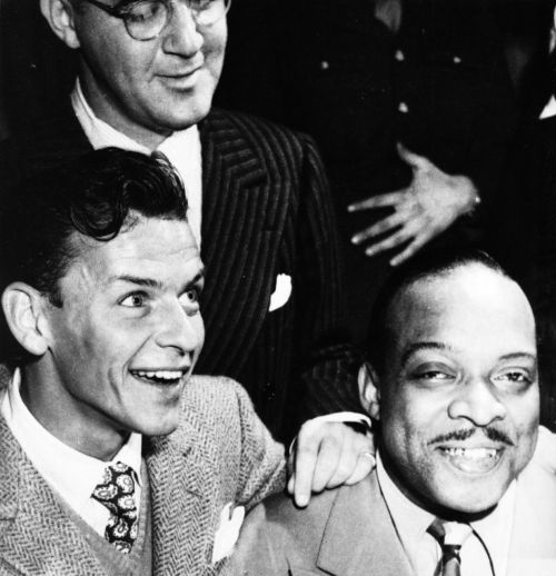 Frank Sinatra, Benny Goodman, and Count Basie photographed by Peter Martin, circa 1945.
