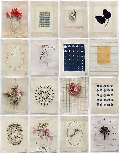 """Fabric """"drawings"""" by Louise Bourgeois - 2009  Mixed media on cloth, suite of 16  11 1/4 x 8 1/2 inches each - """"I always had the fear of being separated and abandoned. The sewing is my attempt to keep things together and make things whole."""" Louise Bourgeois"""