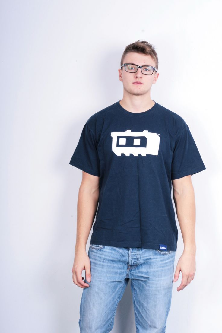 Syntax Mens L T-Shirt Crew Neck Navy Blue Sport