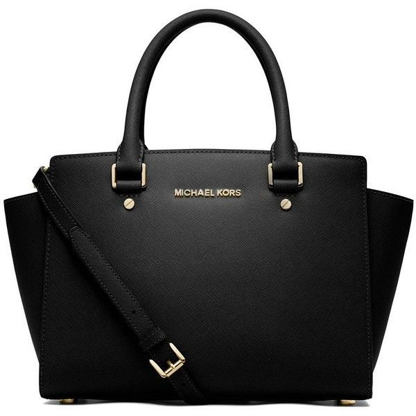 MICHAEL MICHAEL KORS Selma Medium Saffiano Leather Satchel ($310) ❤ liked on Polyvore featuring bags, handbags, sacs, malas, apparel  accessories, zip top bag, satchel purse, wing bags, michael michael kors purse and michael michael kors handbags