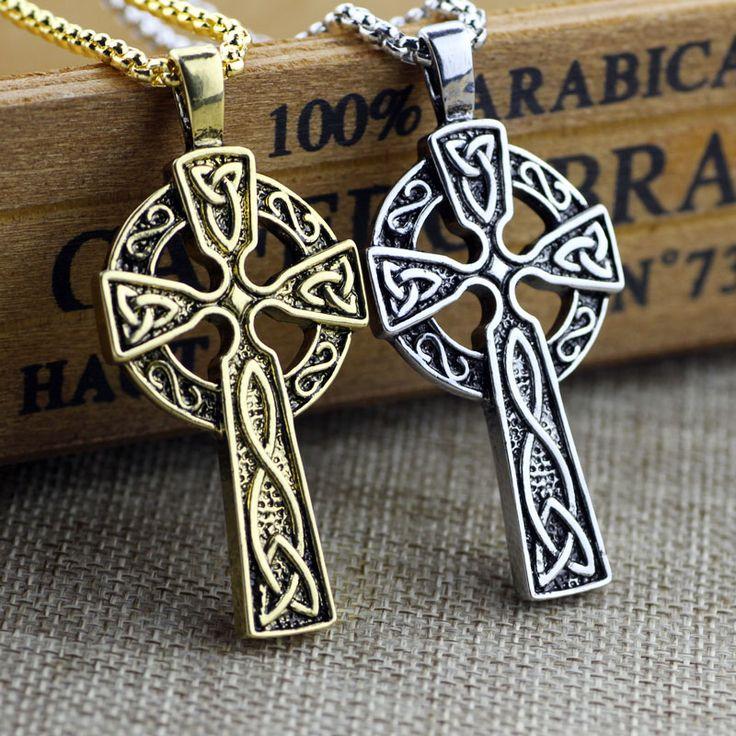 Viking Cross Pendant Necklace Vintage Jewelry Gift Viking Triple Horn Of Odin Celtic Cross Male Necklaces & Pendants 2 Color