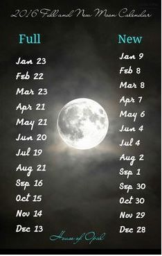 2016 New + Full Moon Dates.
