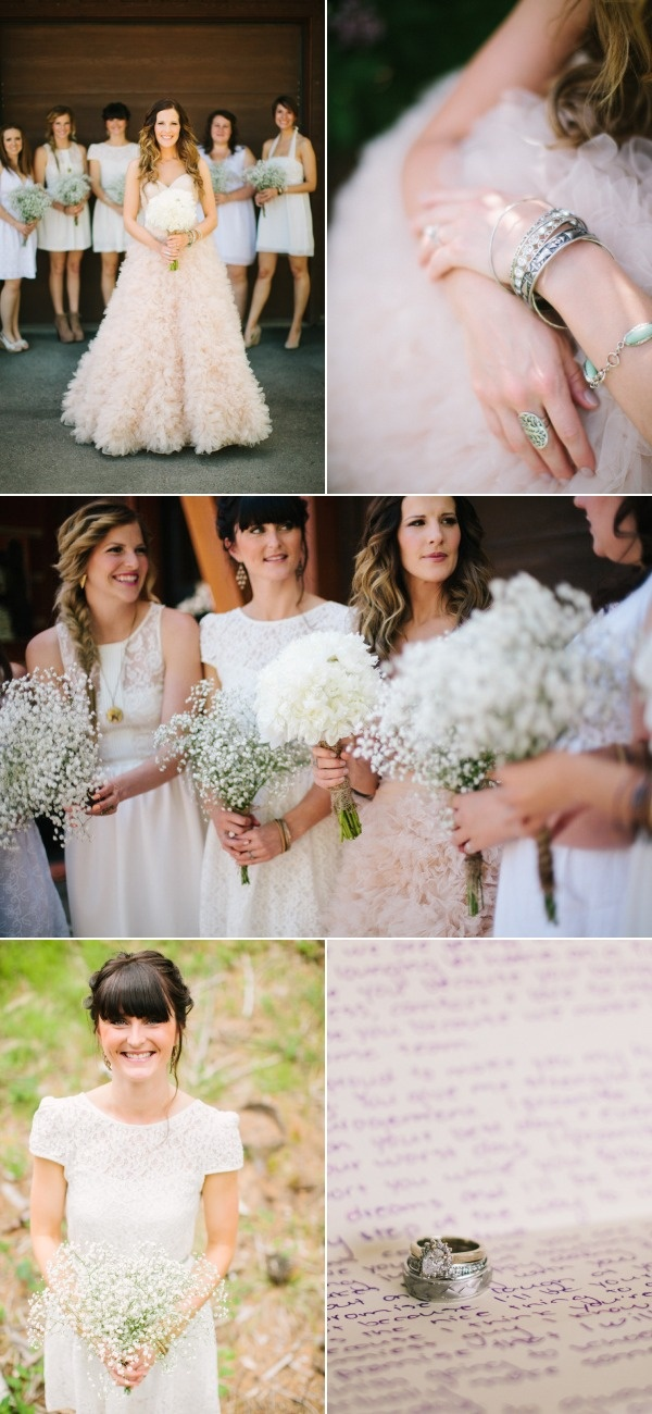 Love the vintage dresses and surprisingly the baby's breath bouquets!