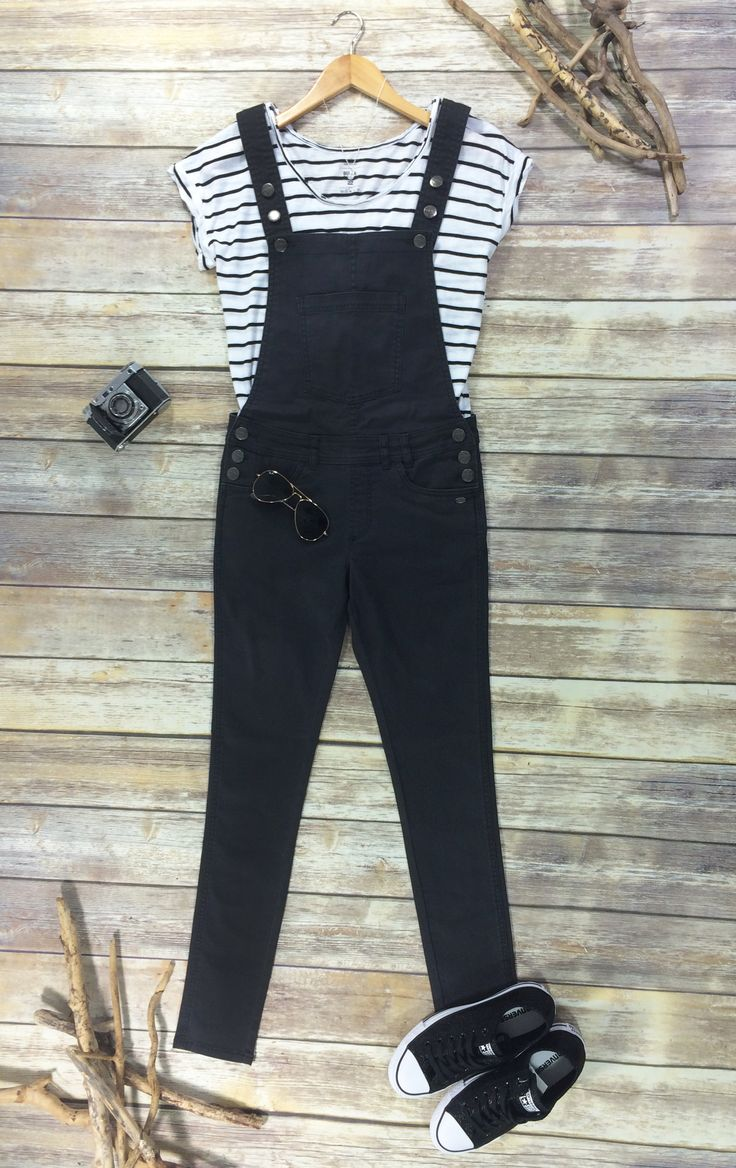 Perfect outfit come rain or shine. Animal Coverall Dungarees, Billabong Essential T-Shirt and Coverse All Stars