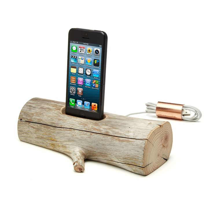 All in good wood re-charging fun: DRIFTWOOD IPHONE CHARGING DOCK by Lee Goodwin via Uncommon Goods