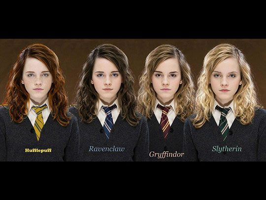 I'm sorry I can't find the original source. My brother showed this to me ages ago. I remember because he said he liked the Slytherin look best.
