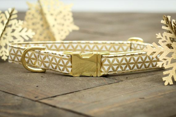 Gold Dog Collar - Valentines Dog Collar, Flower, Female, Male, Holiday, Metallic Gold, Pet Collar, Festive, Pets - Metal Buckle  I am a sucker for