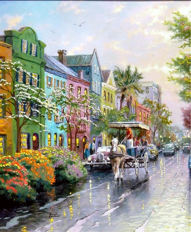 Charleston, Sunset on Rainbow Row ~ Thomas Kinkade