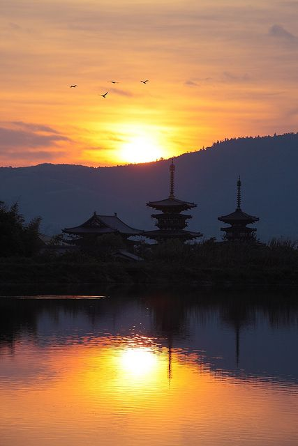 Summer Sunrise in Yakushi-ji Temple, Nara, JAPAN / 薬師寺 奈良 日本